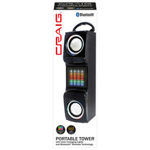 Load image into Gallery viewer, Craig CHT848 Portable Bluetooth Tower Speaker with Color Changing Lights in Black