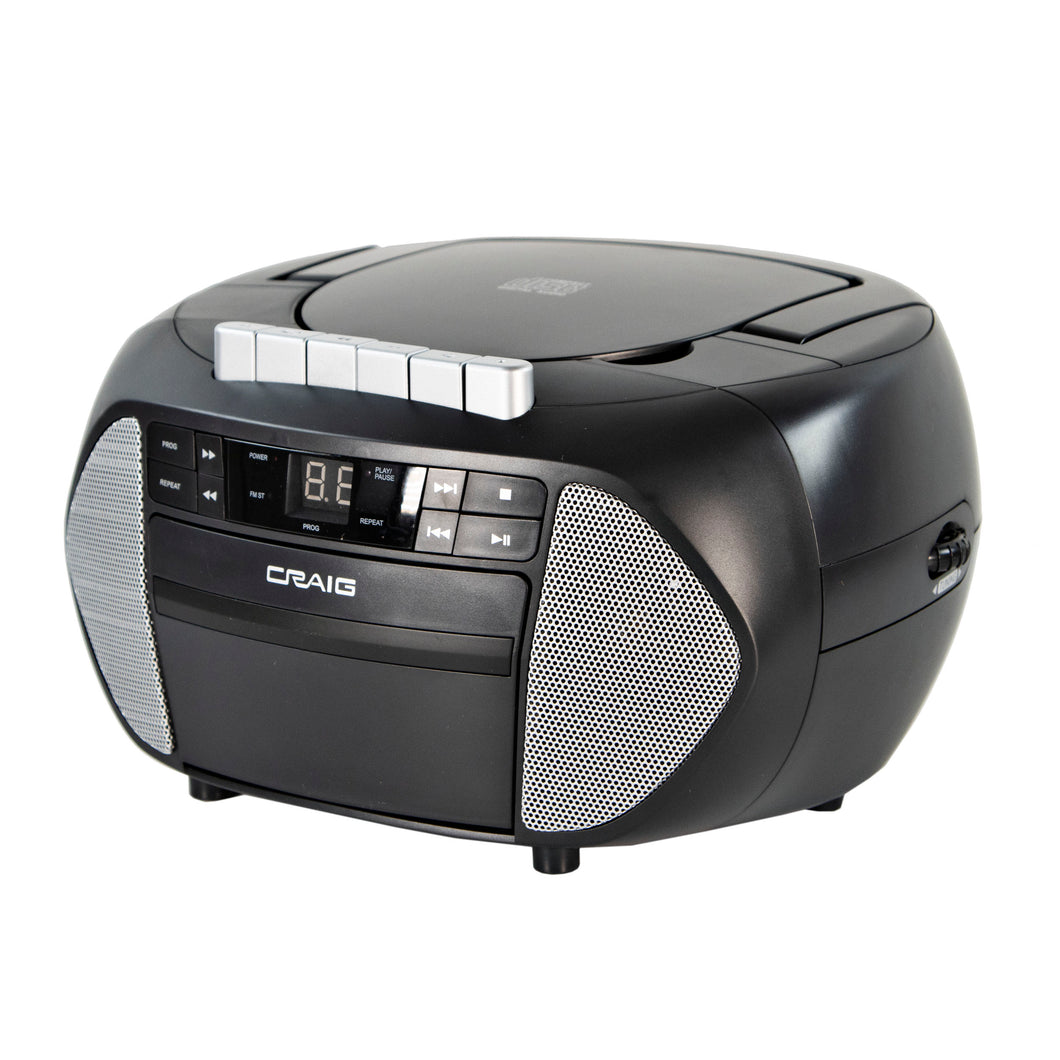 Craig CD6951-SL CD Boombox with AM/FM Radio and Cassette Player in Black and Silver