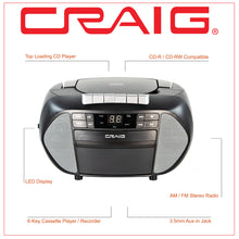 Load image into Gallery viewer, Craig CD6951-SL CD Boombox with AM/FM Radio and Cassette Player in Black and Silver