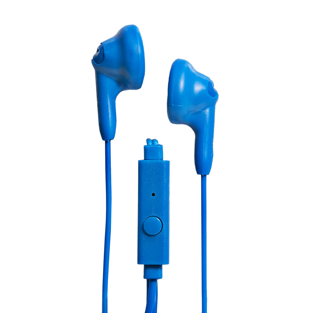 Magnavox MHP4820M-BL Gummy Earbuds with Microphone in Blue