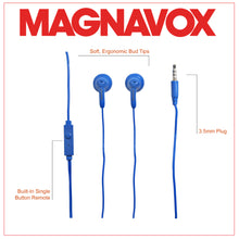 Load image into Gallery viewer, Magnavox MHP4820M-BL Gummy Earbuds with Microphone in Blue