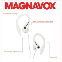 Load image into Gallery viewer, Magnavox MHP4854-WH Earhook Earbuds with Microphone and Rubberized Cable in White