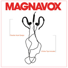 Load image into Gallery viewer, Magnavox MHP4855-BK Earhook Earbuds with Microphone in Black