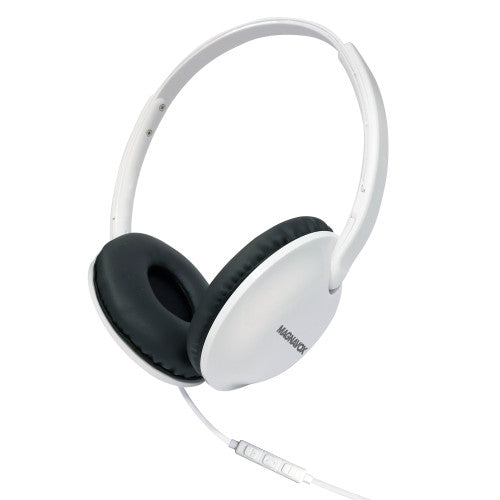 Magnavox MHP5032M-WH Foldable Stereo Headphones with Microphone and Remote in White
