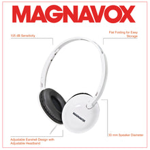 Load image into Gallery viewer, Magnavox MHP5032M-WH Foldable Stereo Headphones with Microphone and Remote in White