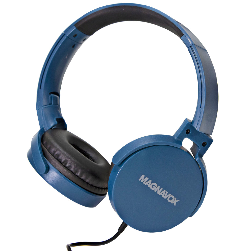 Magnavox MHP5026M-BL Stereo Headphones with Microphone in Blue