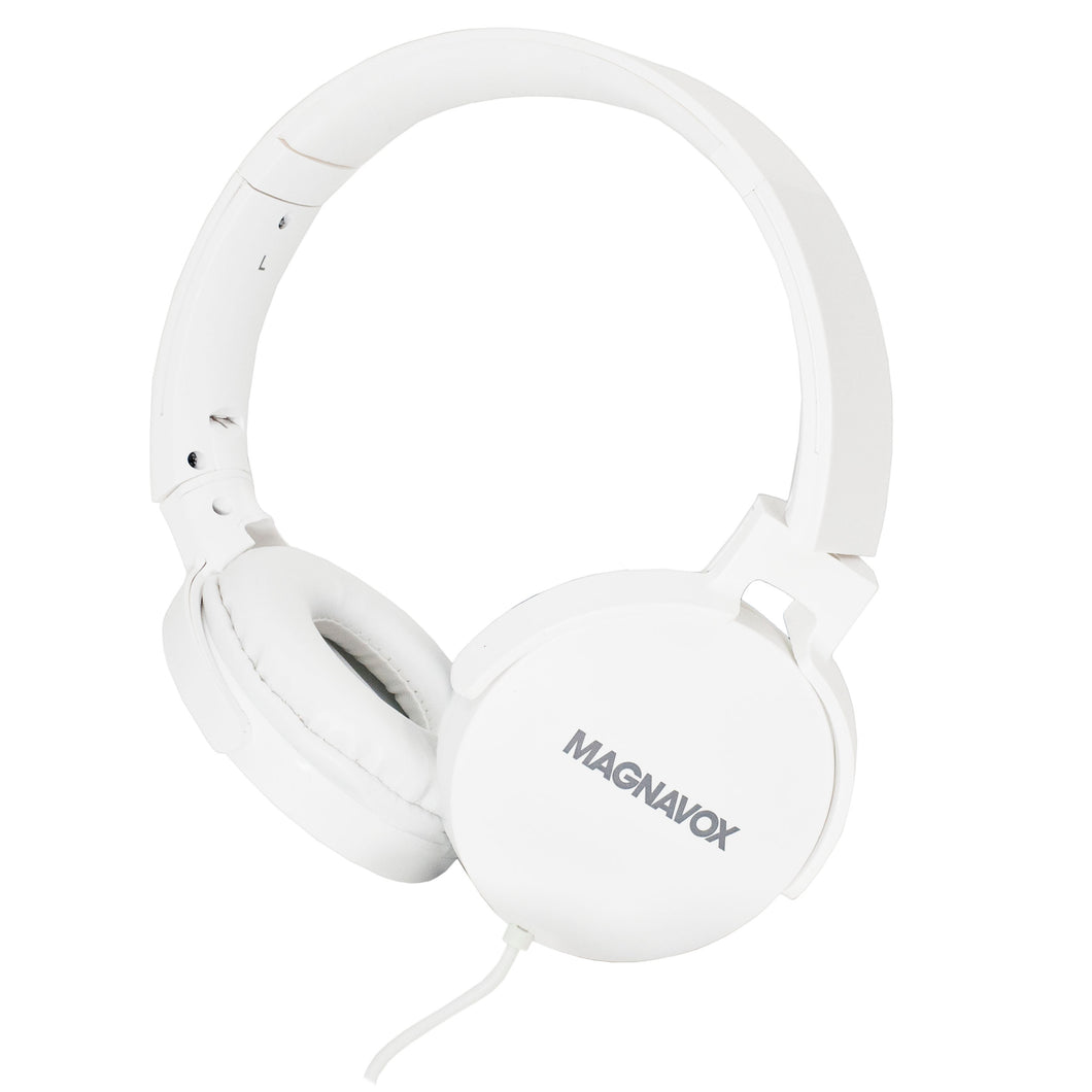 Magnavox MHP5026M-WH Stereo Headphones with Microphone in White