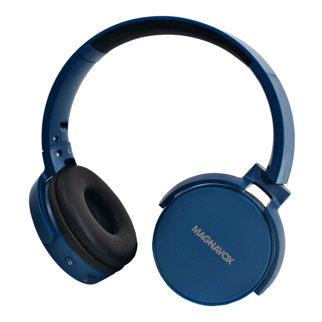 Magnavox MBH542-BL Bluetooth Wireless Foldable Stereo Headphones in Blue