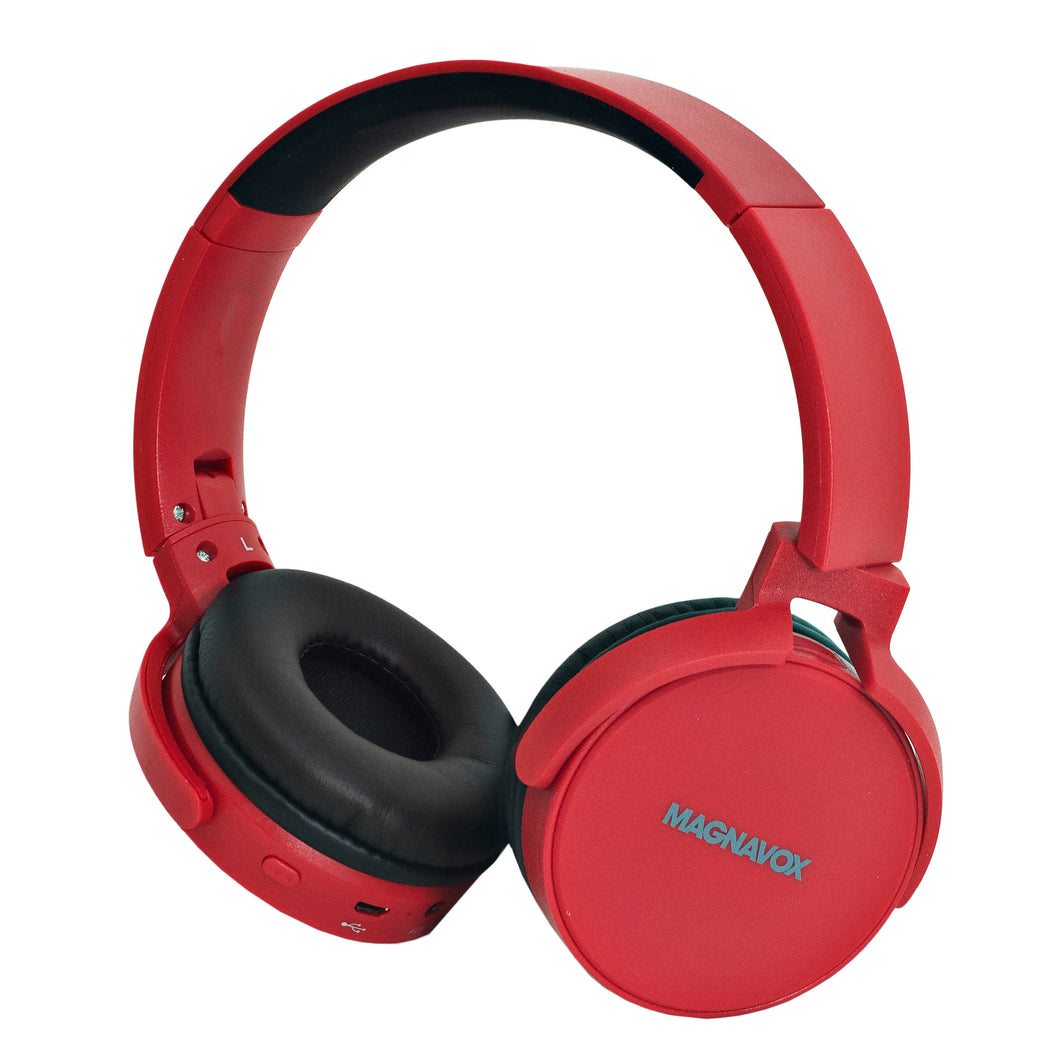 Magnavox MBH542-RD Bluetooth Wireless Foldable Stereo Headphones in Red