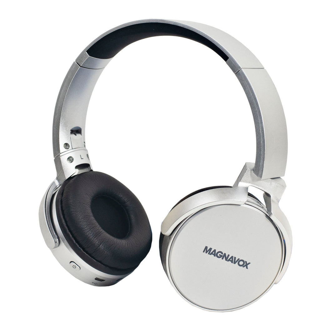 Magnavox MBH542-SG Bluetooth Wireless Foldable Stereo Headphones in Space Grey