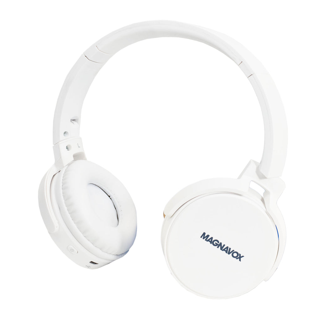 Magnavox MBH542-WH Bluetooth Wireless Foldable Stereo Headphones in White
