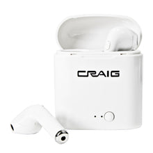 Load image into Gallery viewer, Craig CBH568 Bluetooth Wireless Earbuds with Microphone and Charging Case in White