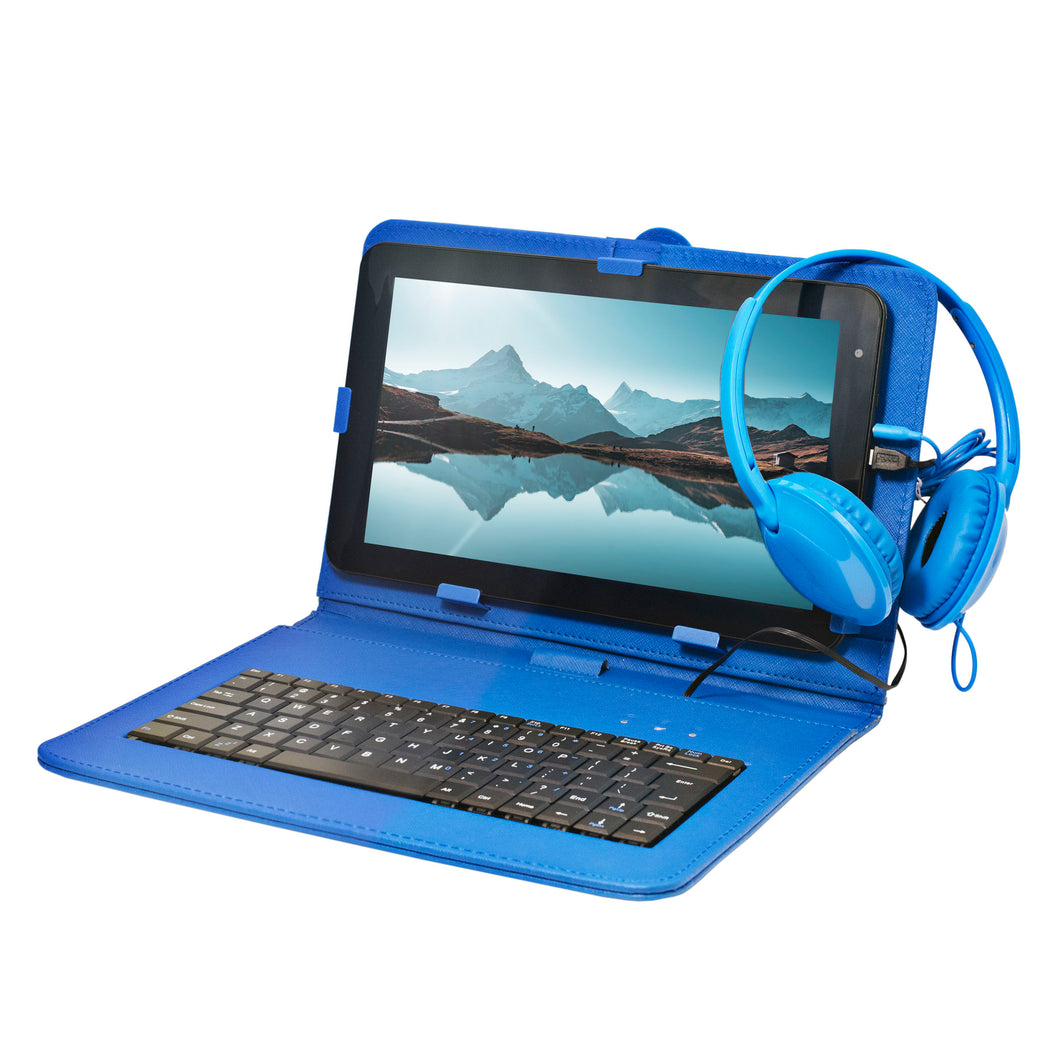 Craig CMP840 BUN-BL-HD Quad Core 10.1 in. Tablet with Keyboard Case & Headphones in Blue