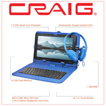 Load image into Gallery viewer, Craig CMP840 BUN-BL-HD Quad Core 10.1 in. Tablet with Keyboard Case & Headphones in Blue