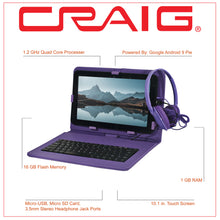 Load image into Gallery viewer, Craig CMP840 BUN-PL-HD Quad Core 10.1 in. Tablet with Keyboard Case & Headphones in Purple