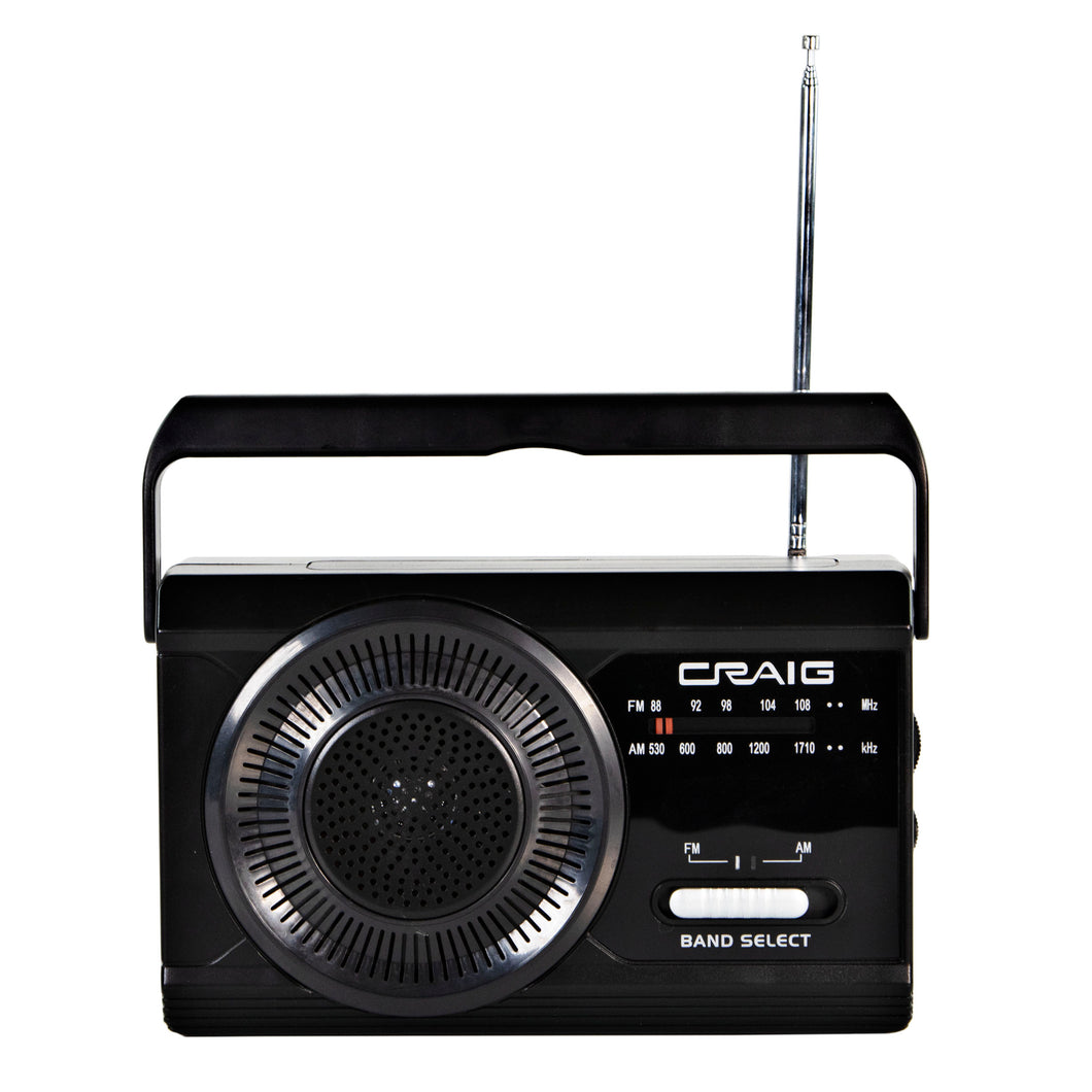 Craig CR4181 Portable Handheld AM FM Radio with Rod Antenna in Black