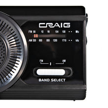 Load image into Gallery viewer, Craig CR4181 Portable Handheld AM FM Radio with Rod Antenna in Black