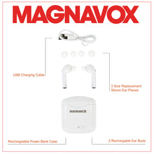 Load image into Gallery viewer, Magnavox MBH570 Bluetooth Mini Wireless Ear Buds with Charging Case in White