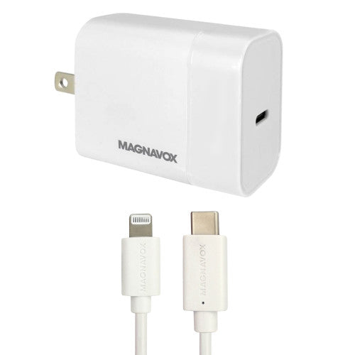 Magnavox MCH3512 Wall Charging Port with USB-C To Lightning Cable in White