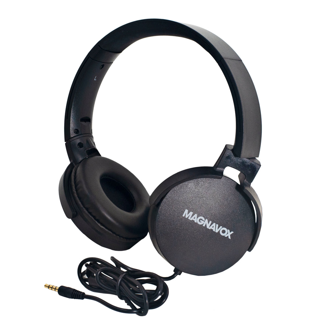 Magnavox MHP5026M-BK Stereo Headphones with Microphone in Black