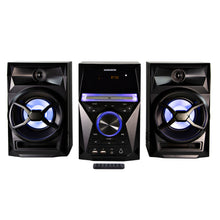 Load image into Gallery viewer, Magnavox MM441 CD Shelf System with FM Radio, Bluetooth, Blue Speaker Lights and Remote in Black