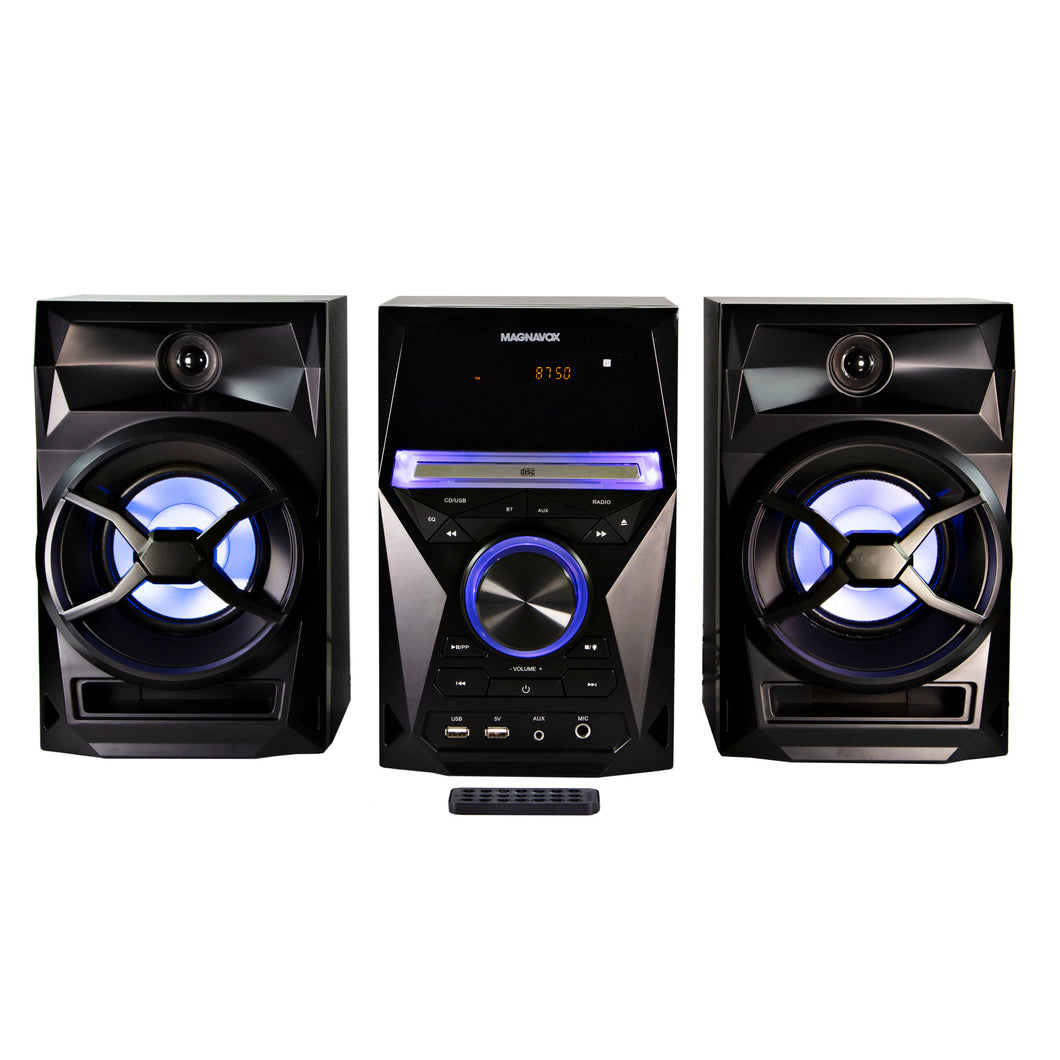 Magnavox MM441 CD Shelf System with FM Radio, Bluetooth, Blue Speaker Lights and Remote in Black