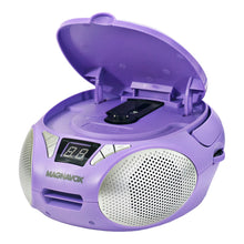 Load image into Gallery viewer, Magnavox MD6924-PL Portable Top Loading CD Boombox with AM/FM Radio in Purple
