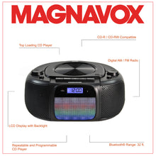 Load image into Gallery viewer, Magnavox MD6972 CD Boombox with AM/FM Radio, Color Changing Lights and Bluetooth in Black