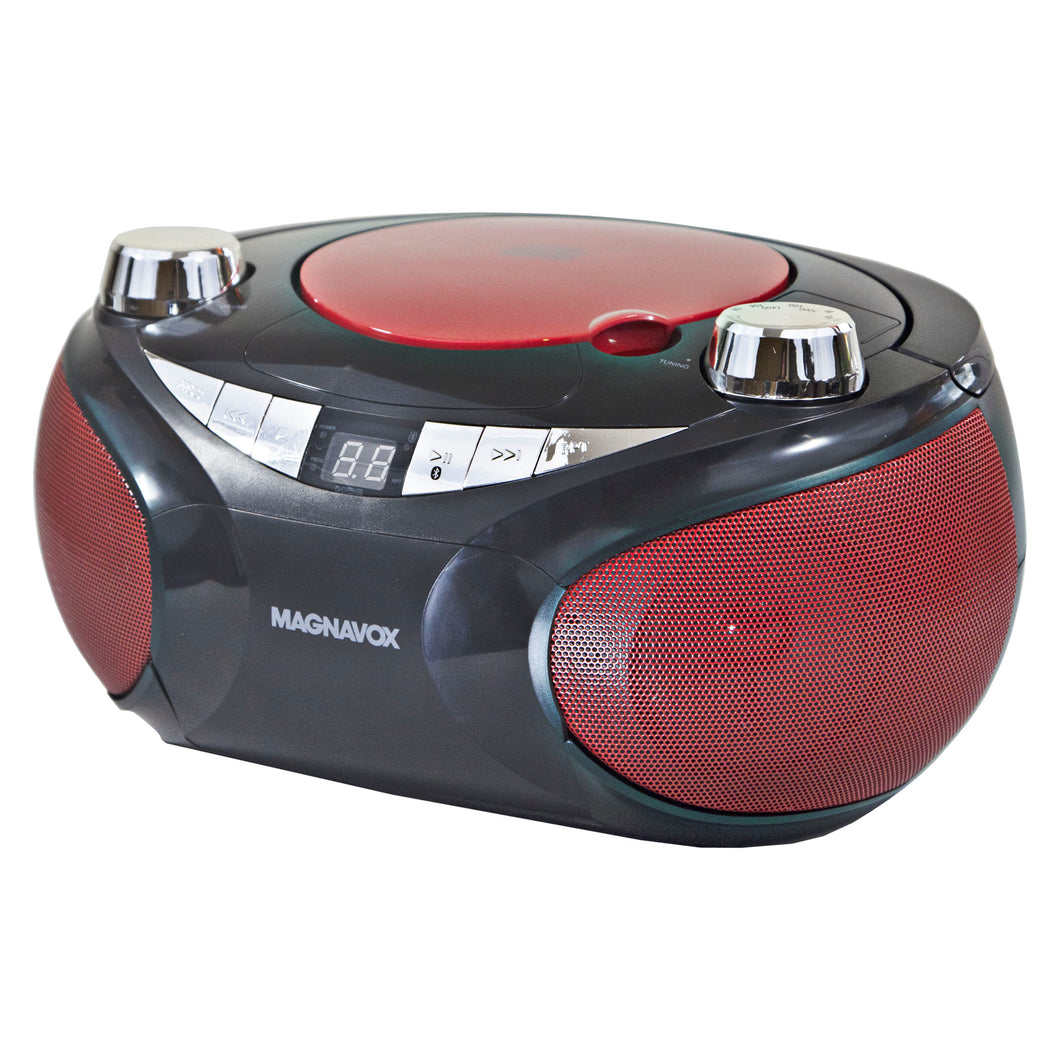 Magnavox MD6949 Portable CD Boombox with AM/FM Radio and Bluetooth in Red and Black