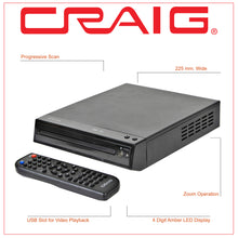 Load image into Gallery viewer, Craig CVD516 Compact DVD Player with Remote in Black