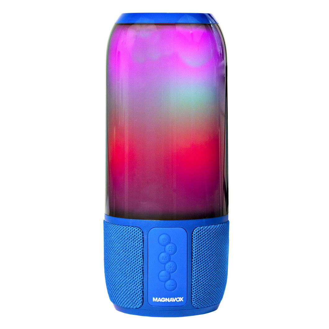 Magnavox MMA3752-BL Bluetooth Speaker with Vertical Color Changing Lights in Blue