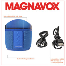 Load image into Gallery viewer, Magnavox MMA3752-BL Bluetooth Speaker with Vertical Color Changing Lights in Blue