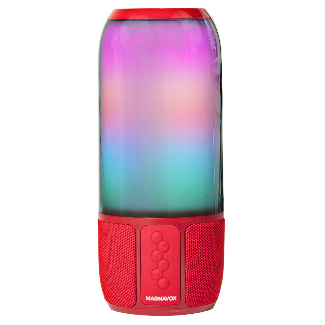 Magnavox MMA3752-RD Bluetooth Speaker with Vertical Color Changing Lights in Red