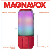Load image into Gallery viewer, Magnavox MMA3752-RD Bluetooth Speaker with Vertical Color Changing Lights in Red