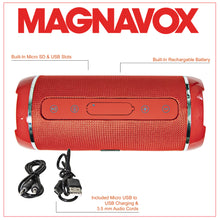 Load image into Gallery viewer, Magnavox MMA3762-RD Portable Bluetooth Horizontal Stereo Speaker in Red