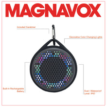 Load image into Gallery viewer, Magnavox MMA3623-GY Waterproof Bluetooth Speaker with Color Changing Lights in Grey