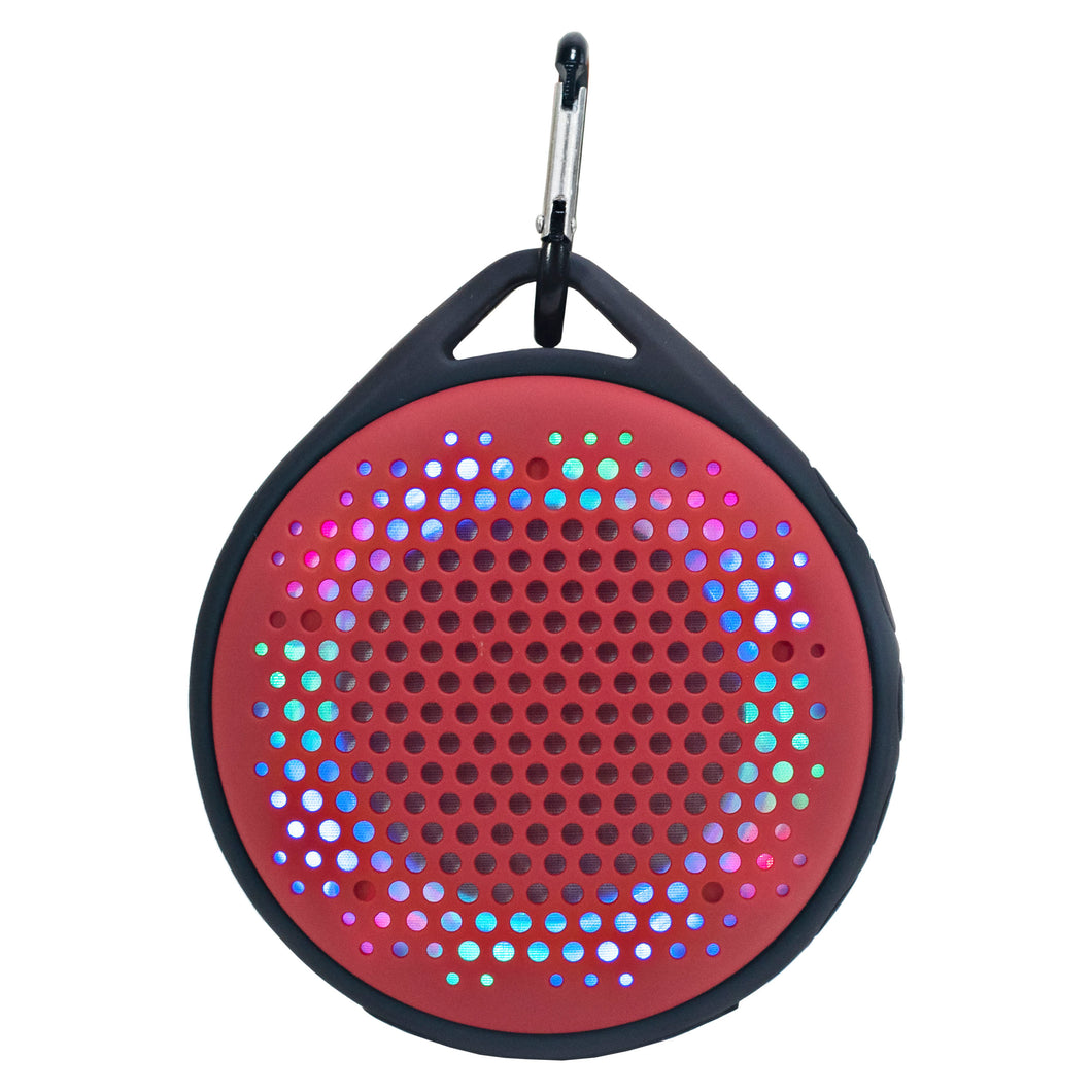 Magnavox MMA3623-RD Waterproof Bluetooth Speaker with Color Changing Lights in Red