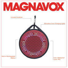 Load image into Gallery viewer, Magnavox MMA3623-RD Waterproof Bluetooth Speaker with Color Changing Lights in Red