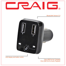 Load image into Gallery viewer, Craig CBT3348A Bluetooth Car FM Radio Transmitter with and Microphone in Black