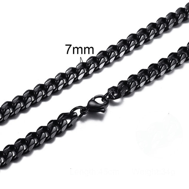 Cuban Link 3 To 7 Mm Stainless Steel Necklace For Men Choker Jewelry Exclusive Trades