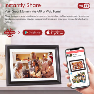 Digital Picture Frame WiFi,LOVCUBE 10 Inch Smart  Photo Frame with Touch Screen Display