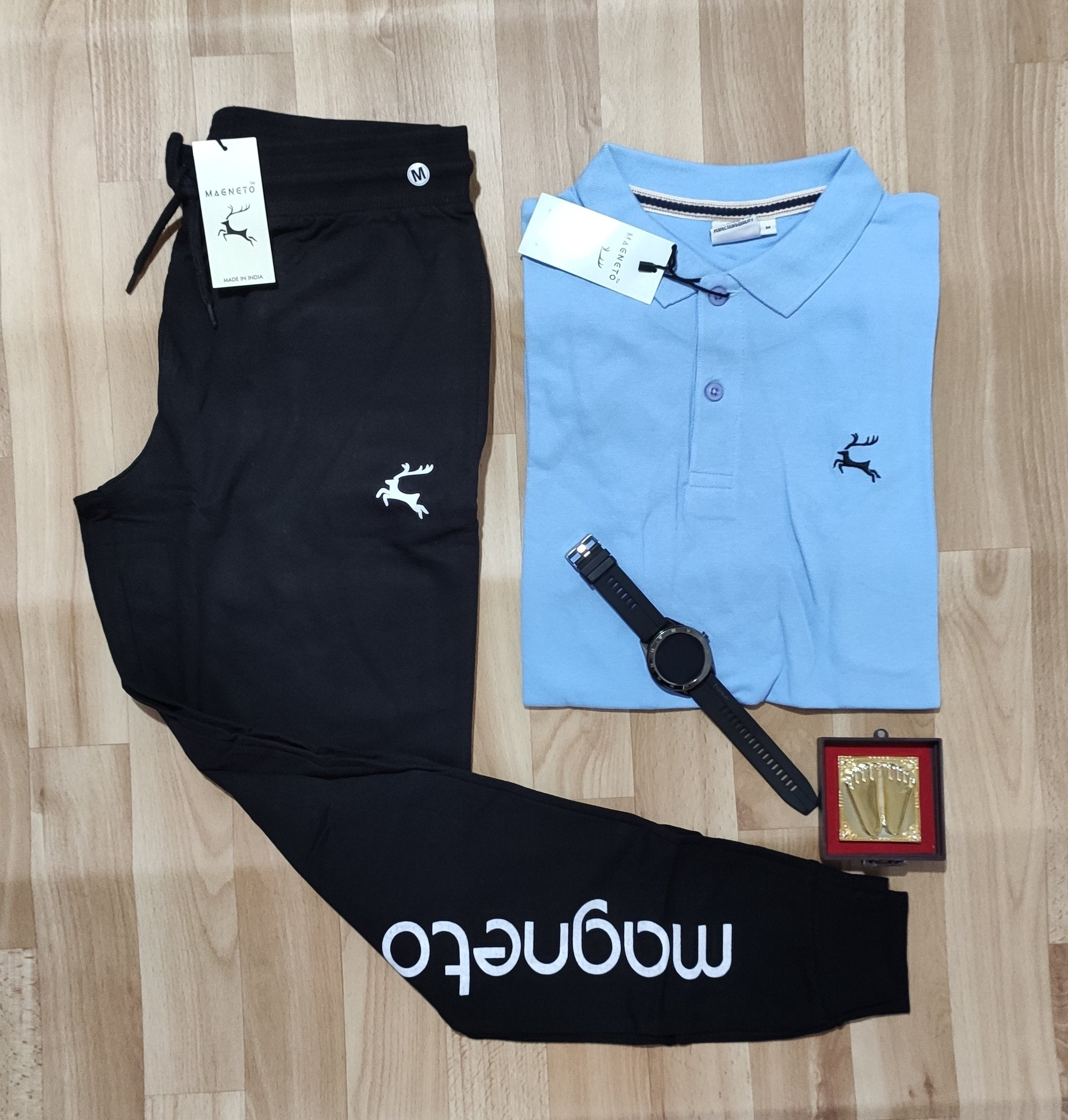 Stylist Combo Of polo T-shirt and Trackpent-skyblue edition
