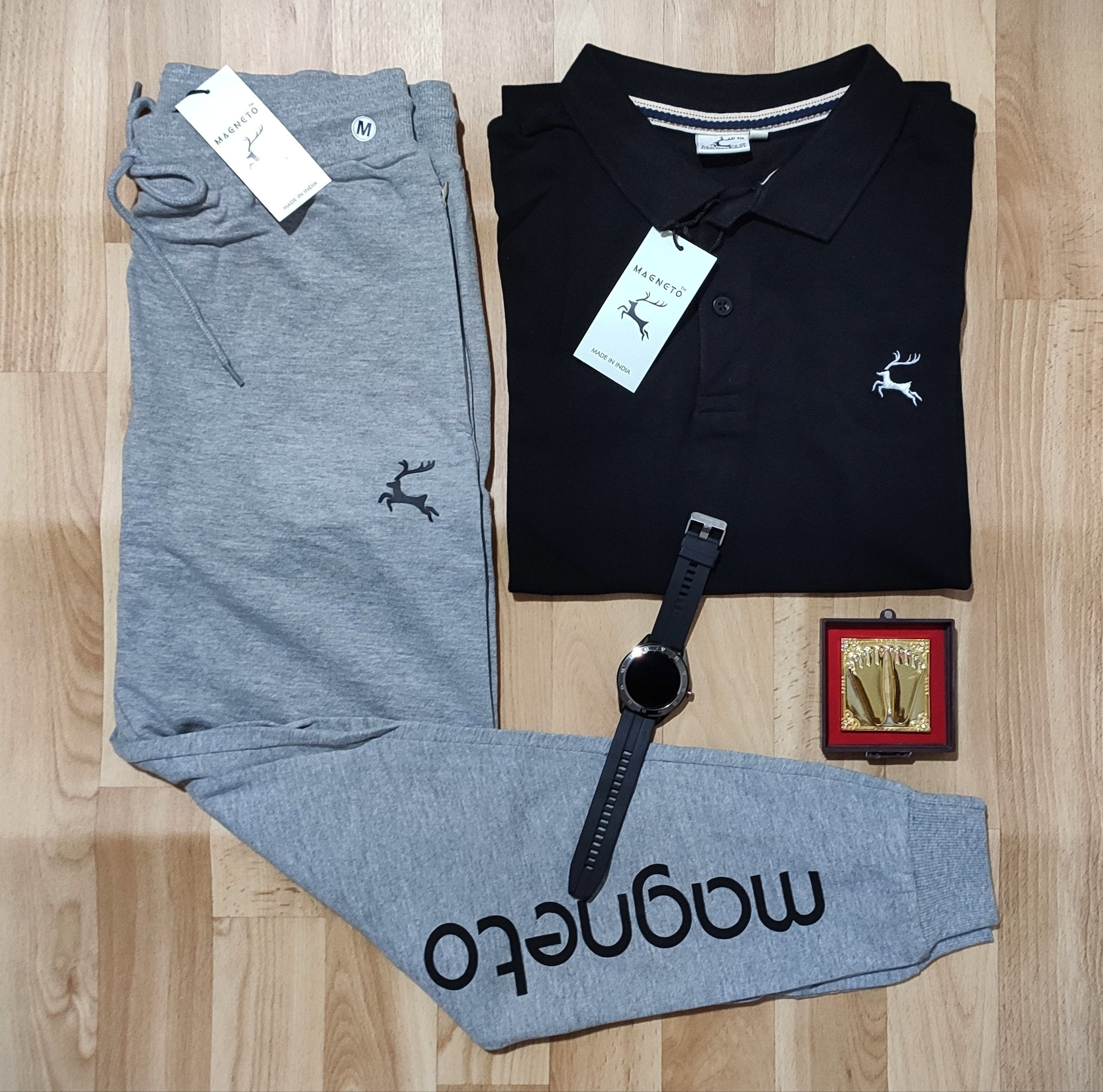 Stylist Combo Of polo T-shirt and Trackpent-dark black