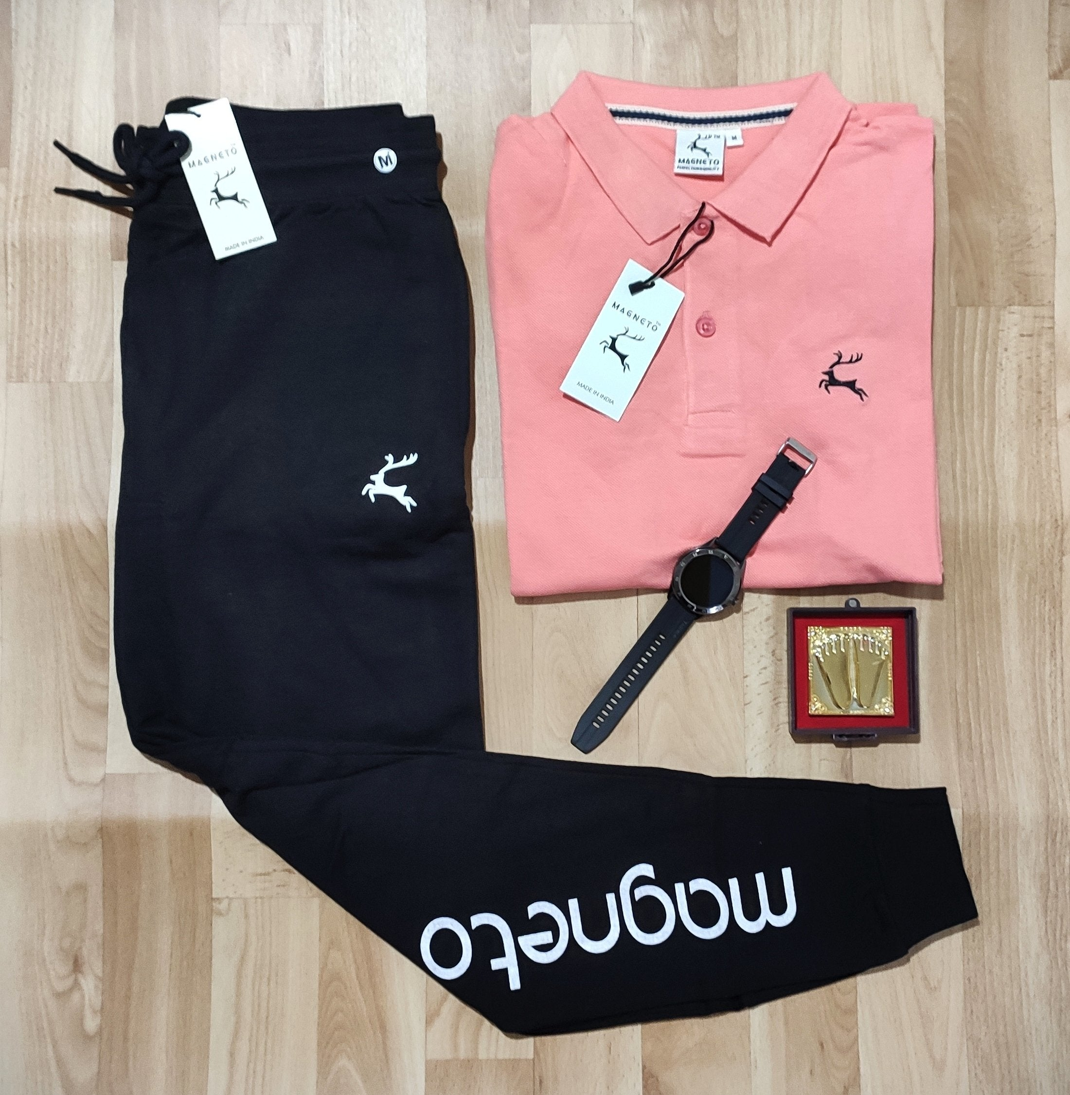 Stylist Combo Of polo T-shirt and Trackpent-sparky peach