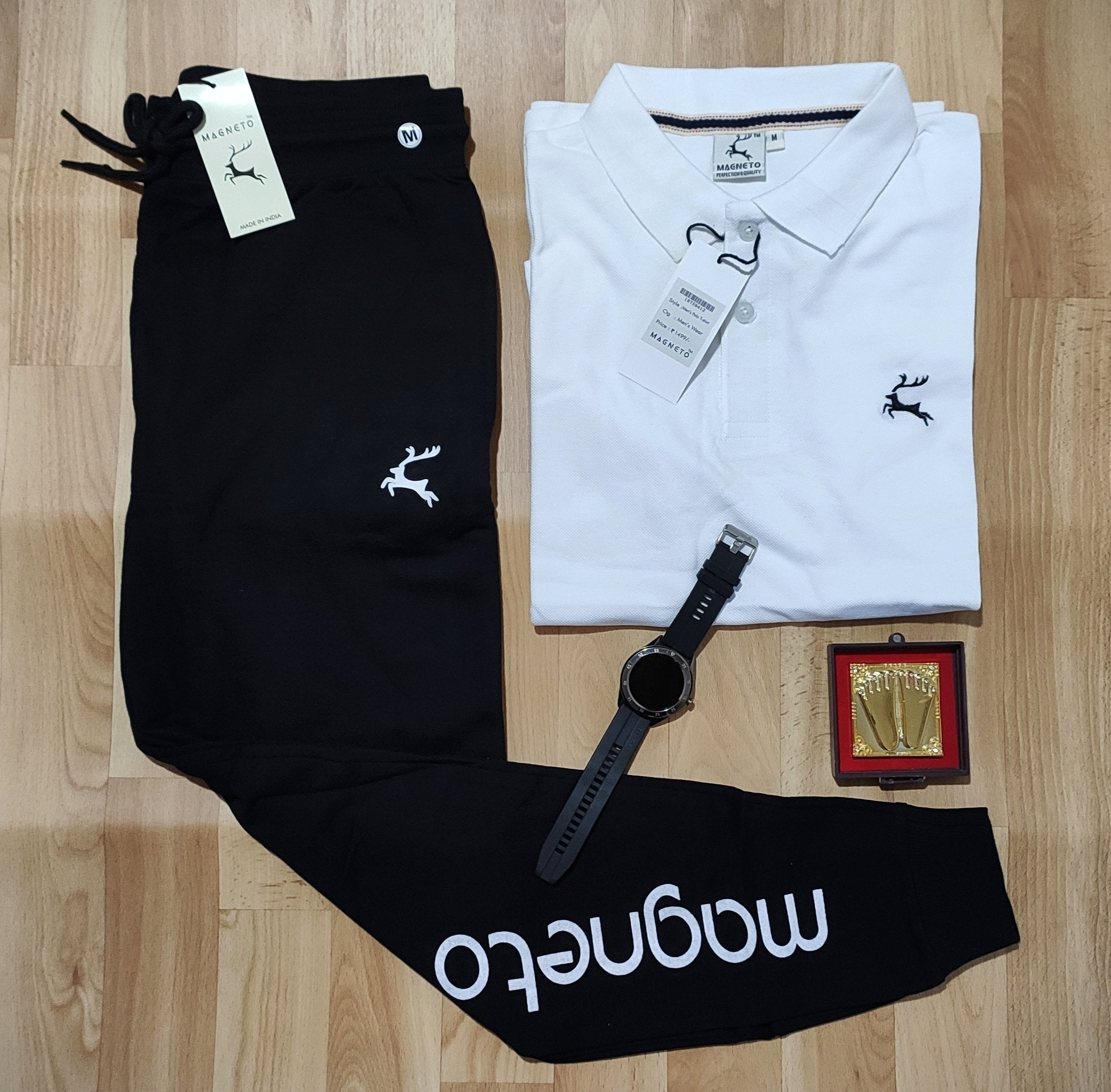 Stylist Combo Of polo T-shirt and Trackpent-pure white