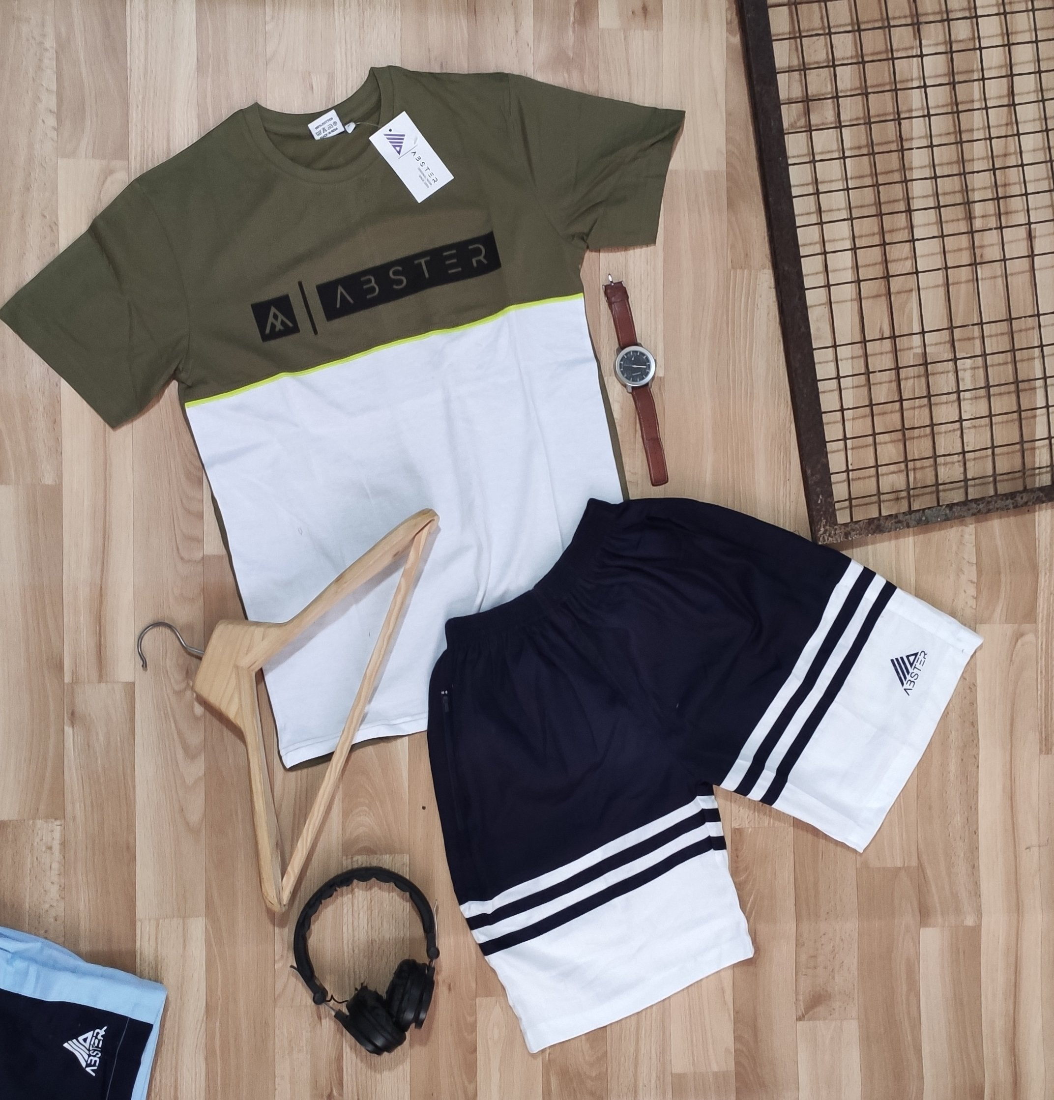 Mens shorts combo pair- GREEN WHITE edition
