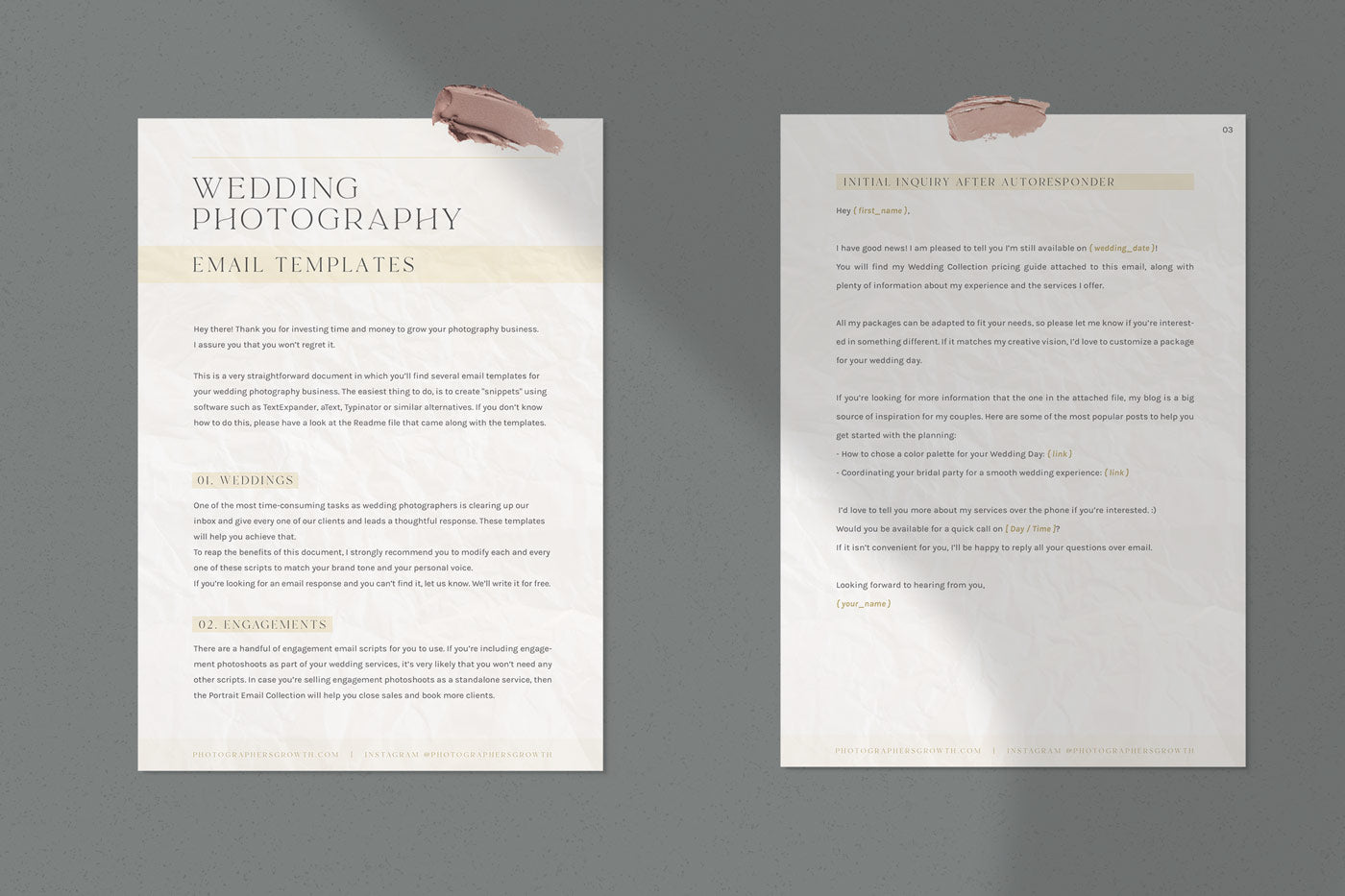 wedding photography email scripts sample