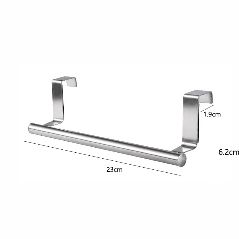 Stainless Steel Towel Rack Bathroom Towel Holder Stand Kitchen Cabinet Door Hanging Organizer Shelf Wall Mounted Towels Bar