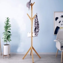 Load image into Gallery viewer, A solid wooden hanger with 8 hooks fixed to the floor for hanging clothes and jacket