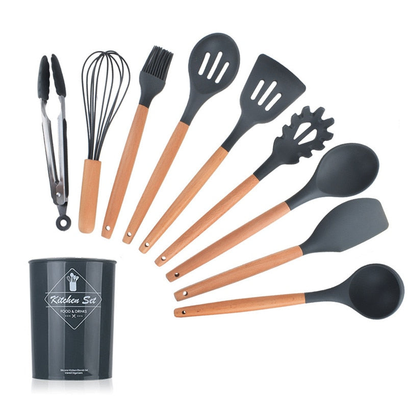 Silicone Wooden Handle Cooking Tool Set
